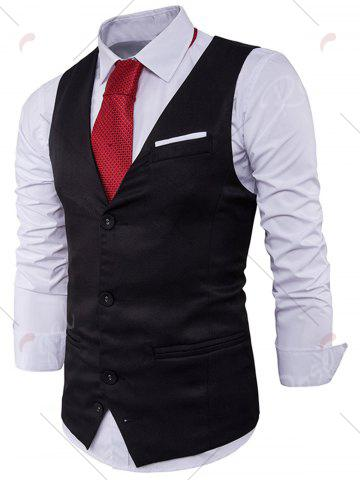 Latest V Neck Color Block Edging Waistcoat - BLACK M Mobile
