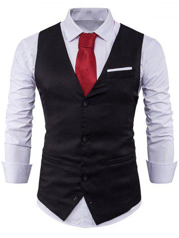 V Neck Color Block Edging Waistcoat - Black - M