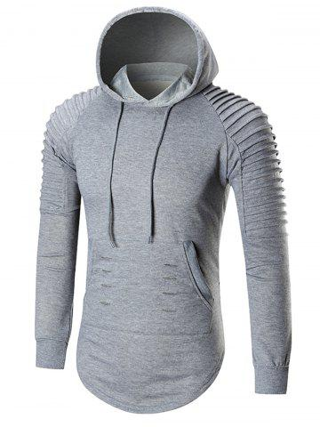 Outfits Pleated Shoulder Distressed Hoodie - 2XL GRAY Mobile