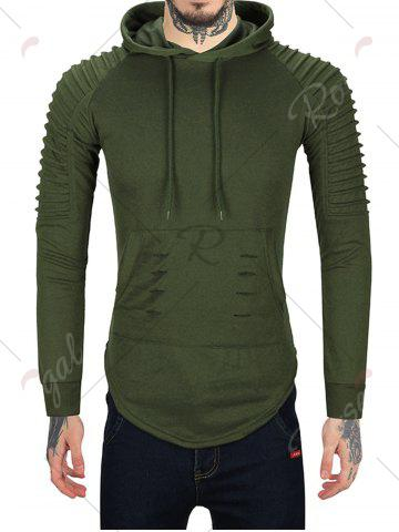 Latest Pleated Shoulder Distressed Hoodie - 2XL HAMPTON GREEN Mobile