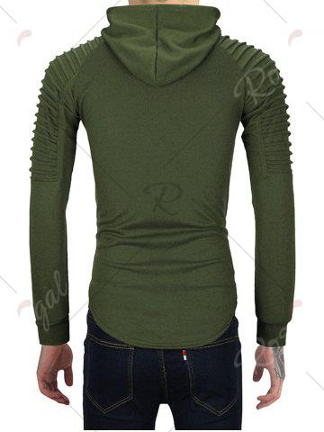 Outfits Pleated Shoulder Distressed Hoodie - 2XL HAMPTON GREEN Mobile