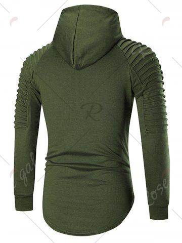 Chic Pleated Shoulder Distressed Hoodie - 2XL HAMPTON GREEN Mobile
