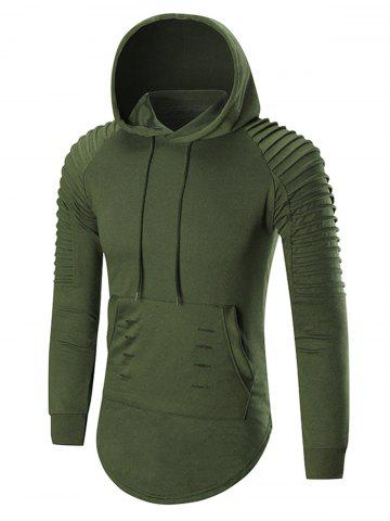 Outfit Pleated Shoulder Distressed Hoodie - 2XL HAMPTON GREEN Mobile