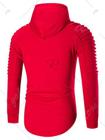 Latest Pleated Shoulder Distressed Hoodie - 2XL RED Mobile