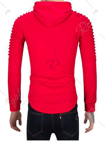Fancy Pleated Shoulder Distressed Hoodie - 2XL RED Mobile