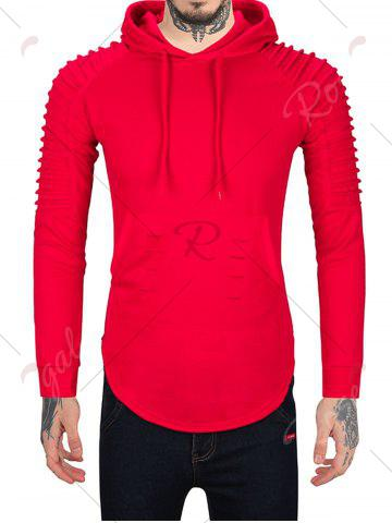 Affordable Pleated Shoulder Distressed Hoodie - 2XL RED Mobile