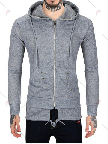 Fancy Distressed Zip Up Hoodie with Drawstring Hem - M GRAY Mobile