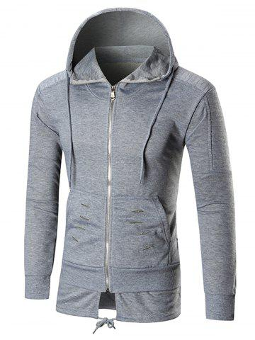 Discount Distressed Zip Up Hoodie with Drawstring Hem - M GRAY Mobile