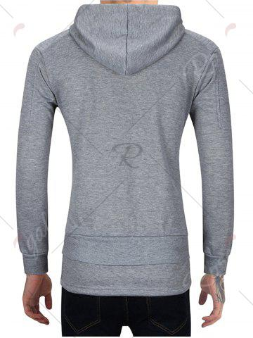 Fashion Distressed Zip Up Hoodie with Drawstring Hem - M GRAY Mobile