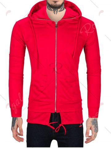 Best Distressed Zip Up Hoodie with Drawstring Hem - 2XL RED Mobile