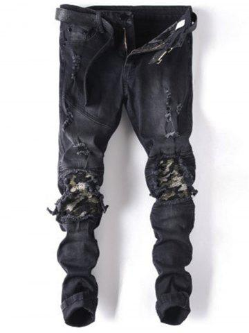 Straight Leg Ripped Biker Jeans - Black - 36