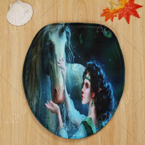 Affordable 3PCS Fairy Unicorn Toilet Lid Cover and Floor Mat Set - DARK GREEN  Mobile