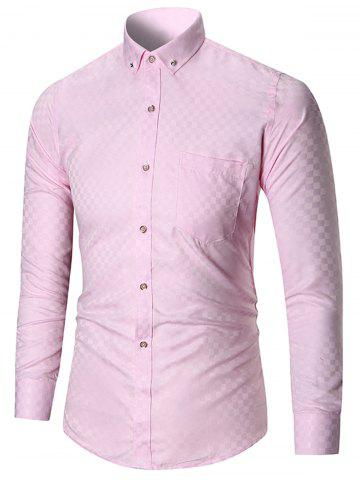Chic Pocket Button-down Long Sleeve Shirt - 4XL PINK Mobile
