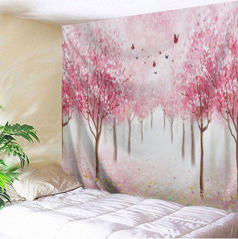 Floral Trees Forest Print Tapestry Wall Hanging Art Decoration - Pink - W59 Inch * L59 Inch