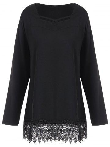 Sale Long Sleeve Plus Size Lace Trim Tee BLACK XL
