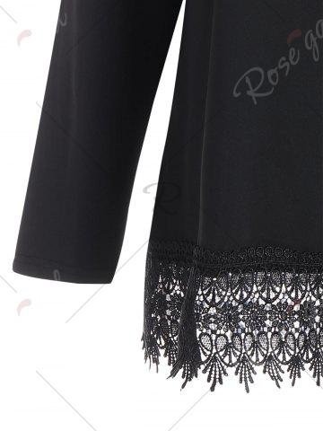 Outfits Long Sleeve Plus Size Lace Trim Tee - XL BLACK Mobile