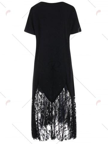 Shops Plus Size Short Sleeve Lace Trim Midi Dress - 2XL BLACK Mobile