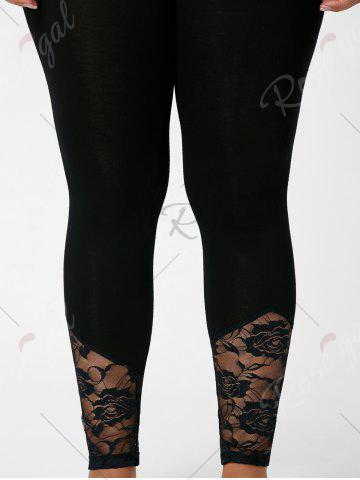Store Plus Size Lace Insert Fitted Pants - XL BLACK Mobile