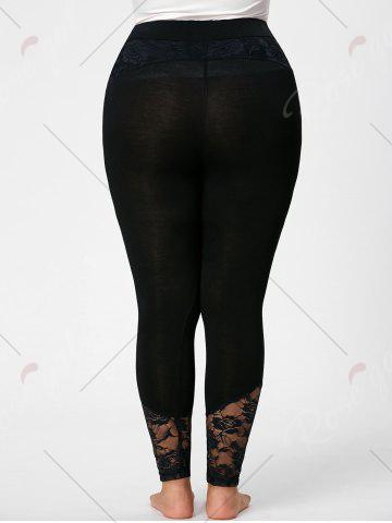 Sale Plus Size Lace Insert Fitted Pants - 5XL BLACK Mobile