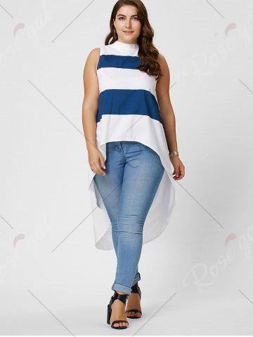 Sale Stripe Mock Neck Plus Size High Low Maxi Top - XL BLUE AND WHITE Mobile