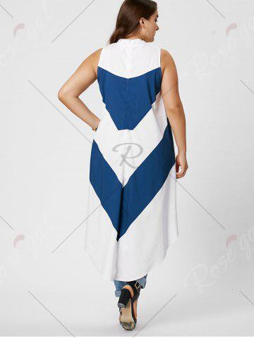 Outfits Stripe Mock Neck Plus Size High Low Maxi Top - XL BLUE AND WHITE Mobile