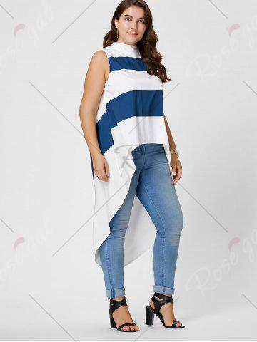 Discount Stripe Mock Neck Plus Size High Low Maxi Top - XL BLUE AND WHITE Mobile