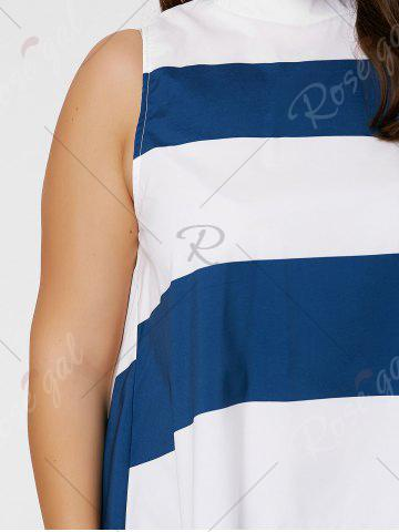 Fancy Stripe Mock Neck Plus Size High Low Maxi Top - XL BLUE AND WHITE Mobile