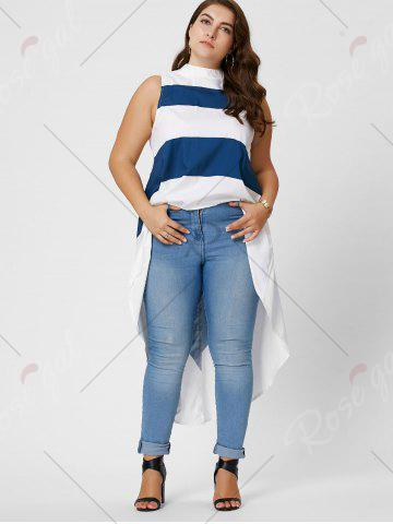 Chic Stripe Mock Neck Plus Size High Low Maxi Top - XL BLUE AND WHITE Mobile