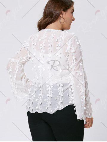 Sale Plus Size Embellished  Long Flared Sleeve Top - 3XL WHITE Mobile