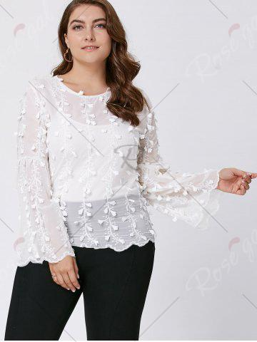 Best Plus Size Embellished  Long Flared Sleeve Top - 3XL WHITE Mobile
