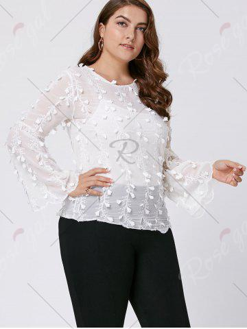 Shops Plus Size Embellished  Long Flared Sleeve Top - 3XL WHITE Mobile
