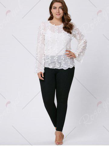 Chic Plus Size Embellished  Long Flared Sleeve Top - 3XL WHITE Mobile