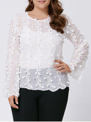 Fancy Plus Size Embellished  Long Flared Sleeve Top - 3XL WHITE Mobile