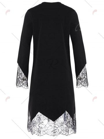 Hot Plus Size Eyelash Lace Trim Shift Dress with Sleeves - 3XL BLACK Mobile