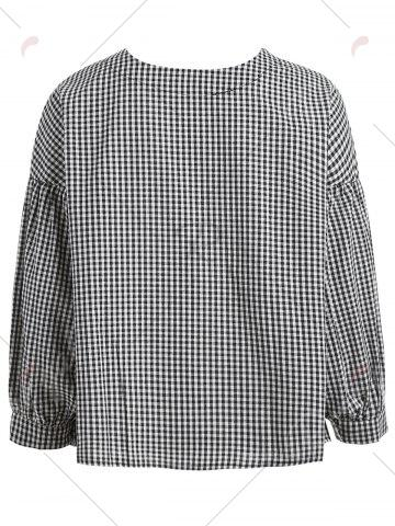 Discount Oversized Plaid Puff Sleeve Blouse - S BLACK Mobile