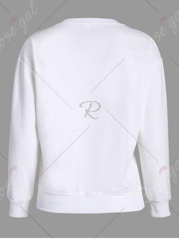 Outfits Printed Long Sleeves Sweatshirt - M WHITE Mobile