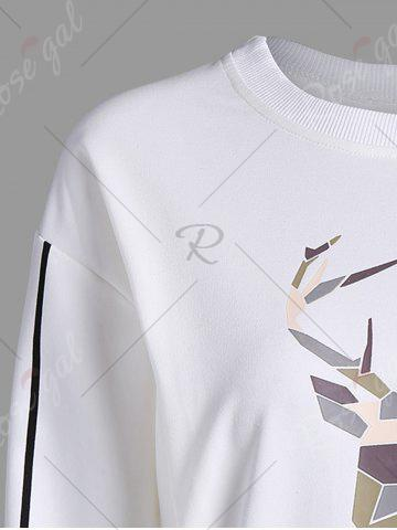 Affordable Printed Long Sleeves Sweatshirt - XL WHITE Mobile