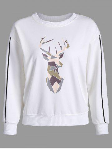 Online Printed Long Sleeves Sweatshirt - XL WHITE Mobile