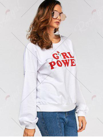 Unique Drop Shoulder Girl Power Print Sweatshirt - M WHITE Mobile