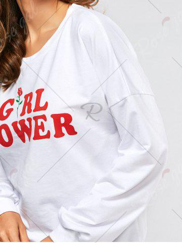Sale Drop Shoulder Girl Power Print Sweatshirt - M WHITE Mobile