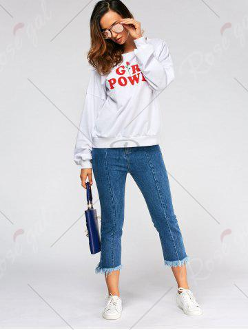 Shops Drop Shoulder Girl Power Print Sweatshirt - M WHITE Mobile