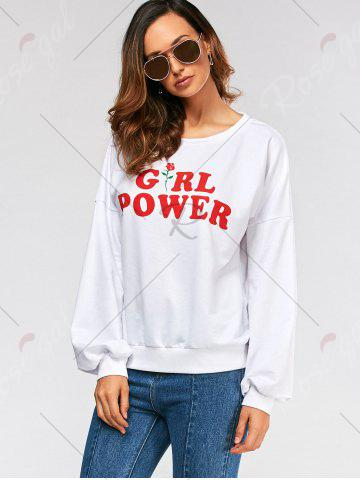 Shop Drop Shoulder Girl Power Print Sweatshirt - M WHITE Mobile
