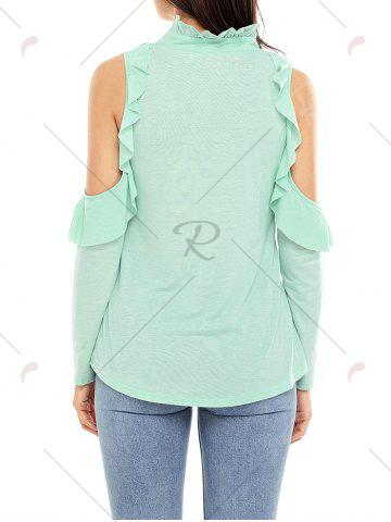 Cheap V Neck Cold Shoulder Ruffle Top - S GREEN Mobile