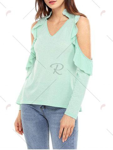 Fashion V Neck Cold Shoulder Ruffle Top - S GREEN Mobile