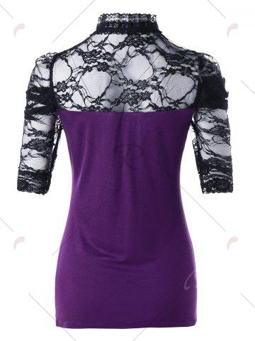 Cheap Cut Out Lace Insert Tee - M PURPLE Mobile