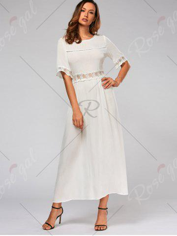 Chic Lace Trim Bowknot Tail Maxi Flare Dress - S WHITE Mobile