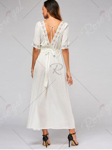 New Lace Trim Bowknot Tail Maxi Flare Dress - S WHITE Mobile
