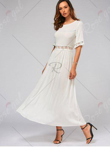 Discount Lace Trim Bowknot Tail Maxi Flare Dress - S WHITE Mobile