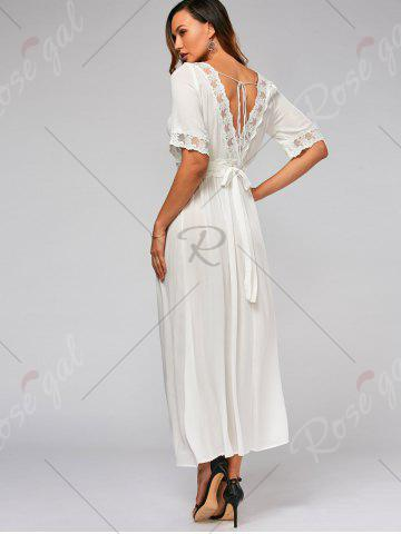 Outfits Lace Trim Bowknot Tail Maxi Flare Dress - S WHITE Mobile