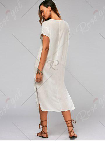 Affordable Leaf Embroidery Batwing Sleeve Split Straight Dress - S WHITE Mobile
